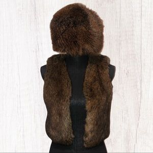 🤍Faux fur vest and hat set